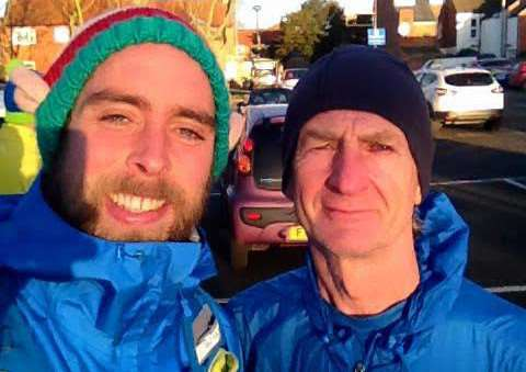 Ben Smith with Paul Davidson of Grantham Running Club, who helped to organise the Grantham leg.