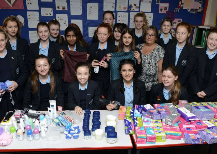 Pupils have been collecting sanitary items for women in Syria.