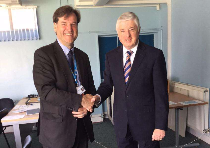 Grantham district and county councillor Ray Wootten, right, meets the chairman of United Lincolnshire Hospitals NHS Trust Dean Fathers. EMN-160520-160409001