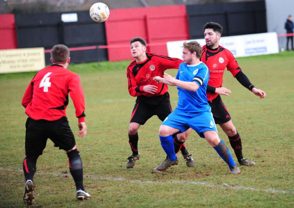 Action from Harrowby United's victory over Oadby Town on Saturday. Photo: Toby Roberts