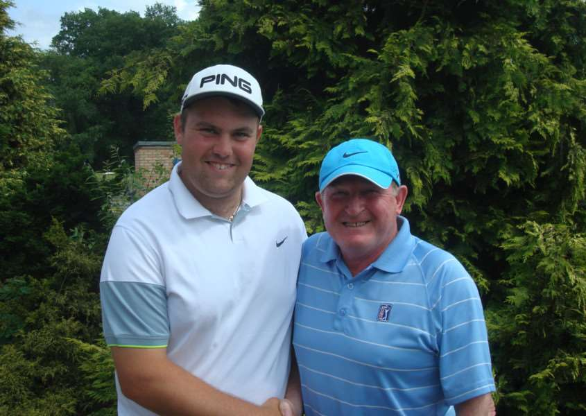 Belton Woods club champion Matt Haynes and club captain Harry McKeen.