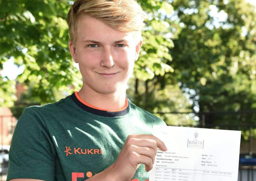 GCSEs results day, King's School: Jonny Law