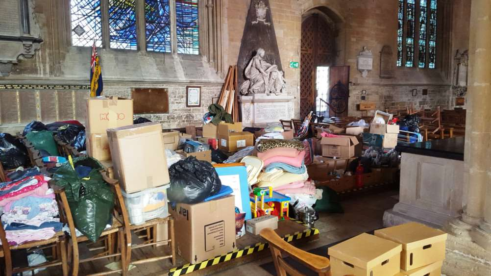 Donations poured into St Wulfram's Church to help refugees in the camps in Europe.