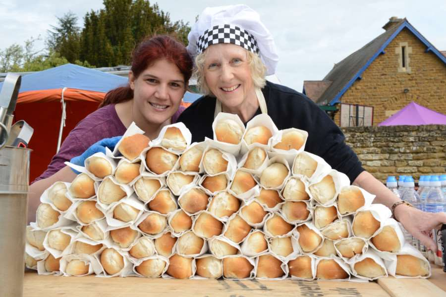 Rachel Smith and Valerie Shotton kept the crowds well fed at Denton Street Market.