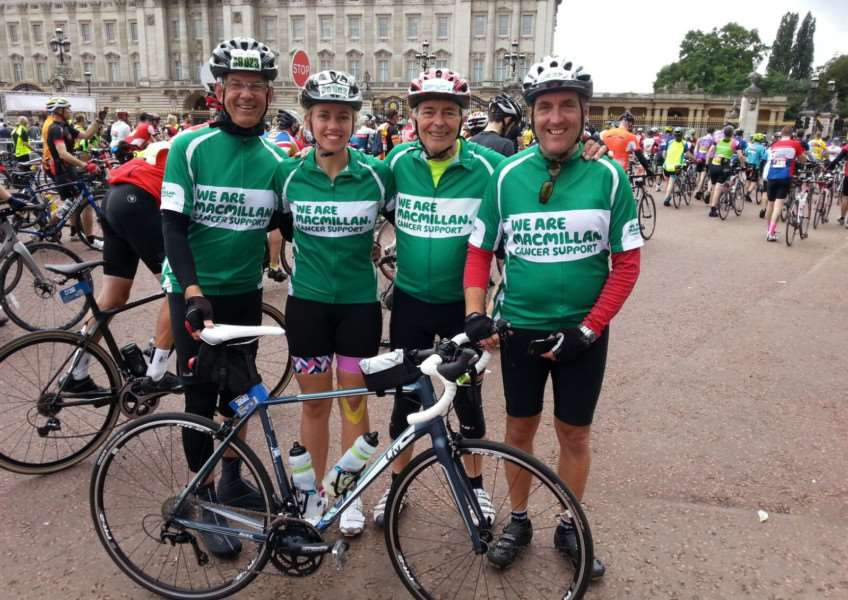 The Grantham Peloton team took part in the LondonRide 100 event. From left are Roger Graves, Laura Graves, John Cussell and Stuart Wade outside Buckingham Palace at the end of the ride.