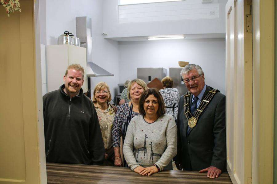 The opening of the new kitchen at Alive church with, from left, Jonas Eyles, Alison Allenby, church volunteer Julia Sturley, lunch club cooking co-ordinator Susan Kellitt, Age Concern, and Mayor of Grantham Coun Mike Cook.