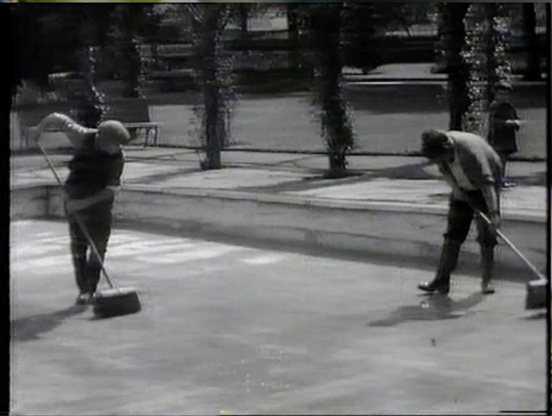 Work takes place on the Wyndham Park paddling pool in this film made for cinemas in the 1960s.