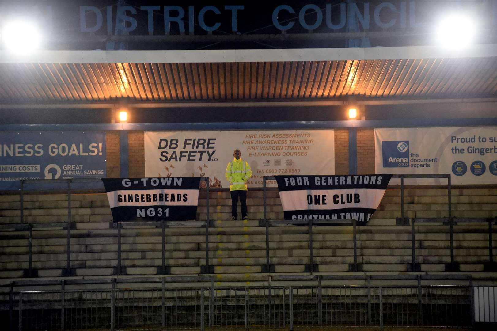 Flags placed in the main stand as fans were not allowed in (43512810)