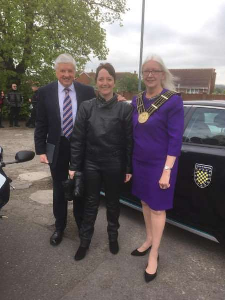 Fighting 4 Health Lincolnshire bikers rally organiser Sarah Stock with Mayor of Grantham Coun Linda Wootten and her husband Coun Ray Wootten at the first event.