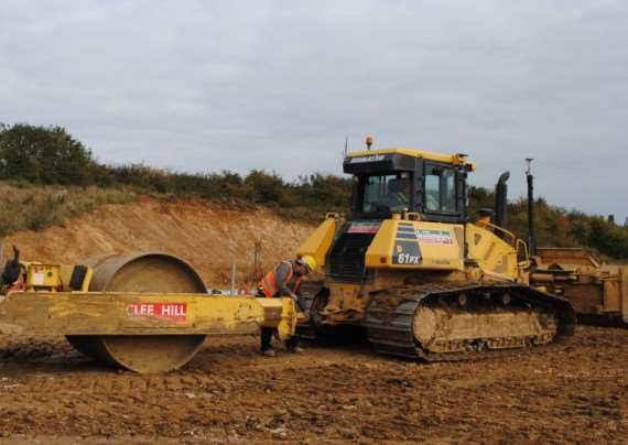 Bulldozers start work on the Grantham southern relief road. EMN-151130-112646001