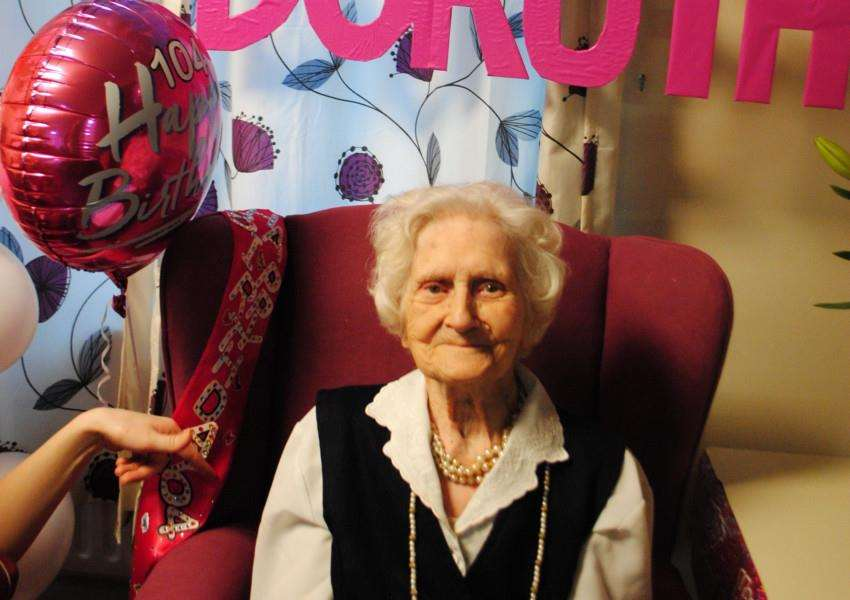 Dorothy Stafford celebrates her 104th birthday at King's Court Nursing Home in Grantham.