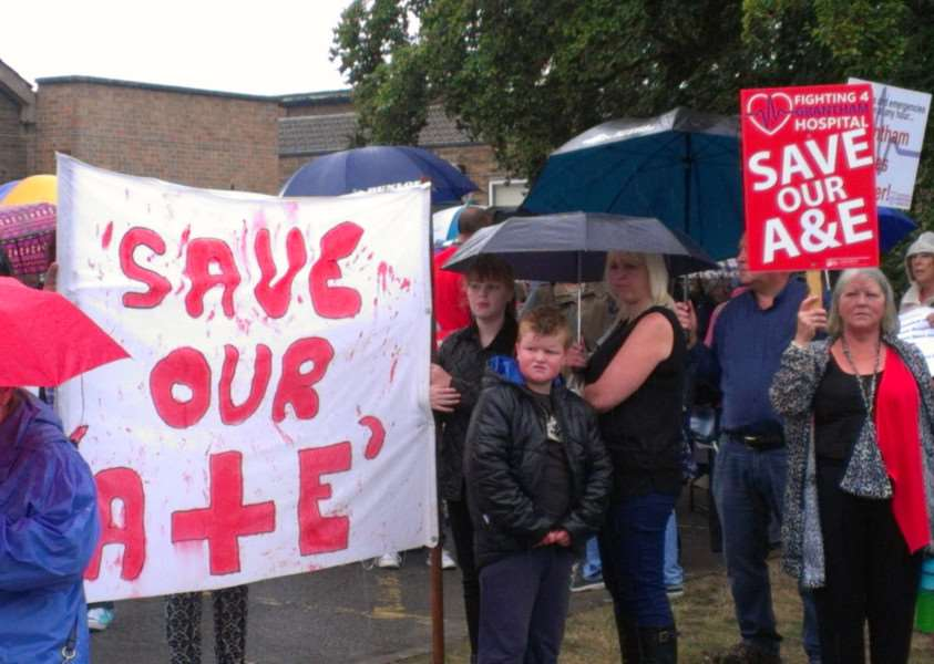 People protest outside Grantham hospital at the closure of A&E overnight.
