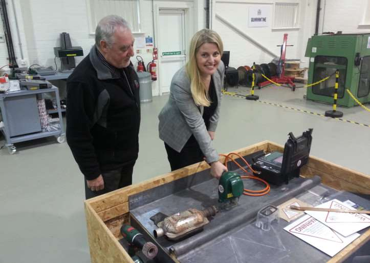 MEP Emma McClarkin turns her hand to metal marking at the Signature Materials base in Grantham.