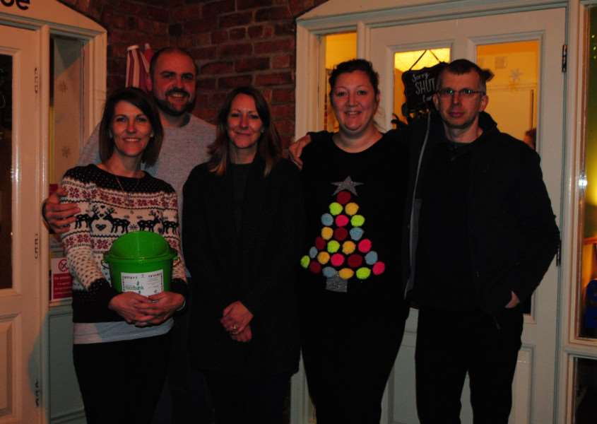 Leza Burton and Mark Harrison (left) with fellow business owners Lisa Richardson, Lisa Bowley and Adrian Spinks