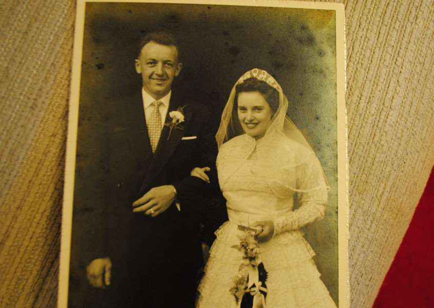 Terrisa and Roy Morris on their wedding day in 1957.