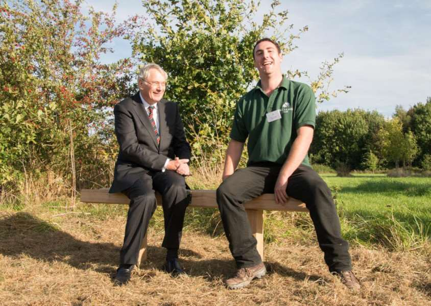 The Duke of Gloucester and Woodland Trust site manager Ian Froggatt take a seat. Photo: Philip Formby.