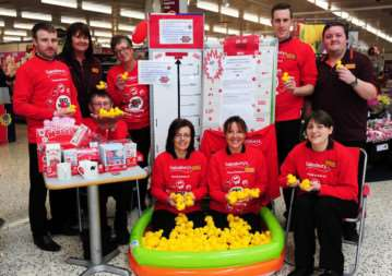 Staff at Sainsbury's prepare for Comic Relief