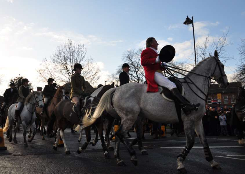Belvoir Hunt meets at St Peter's Hill, Grantham, on Boxing Day.