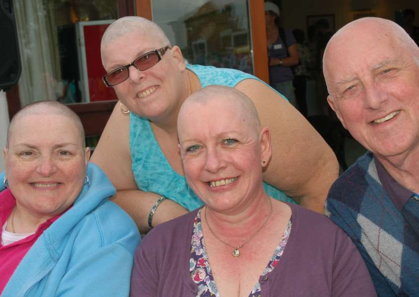 Hazel Bonshor, Denise Kemp, Sally-Ann Watson and David Garland show off their bald heads 'PHOTO: Tim Williams EMN-160516-163704001