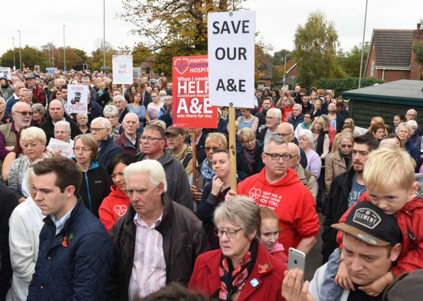 Protest march through Grantham to highlight the closure of the A and E Department at Grantham Hospital