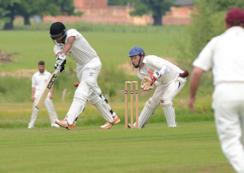 Josh Sharpe batting for Belvoir against Hoveringham. Photo: Toby Roberts