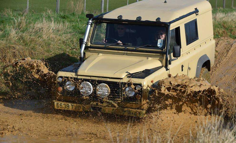 In too deep? A Land Rover takes on the course at the Grantham barracks.