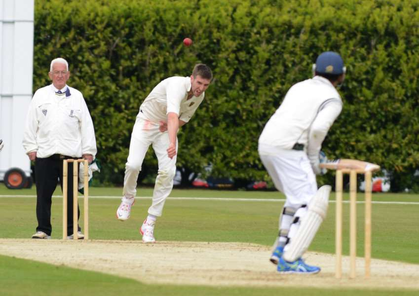Grantham's Joe Peck bowls at Woodhall Spa at Gorse Lane on Saturday. Photo: Toby Roberts