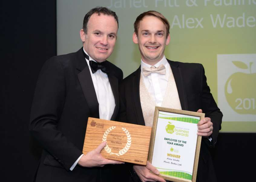 Winner Alex Wade, business development director at Mark Bates Ltd, with Stuart Pigram of Grantham Business Club.