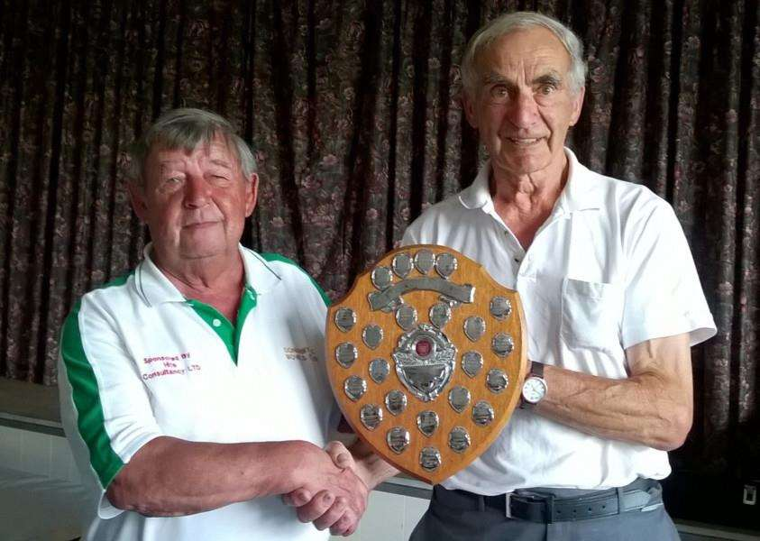 GDBA president Paul Jones (left) and stand-in 'chairman' Tim Harwood with the Leeder Shield.