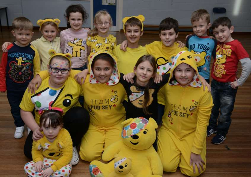 Lots of Pudsey bears turned up at Belmont Primary School on Friday to raise �210