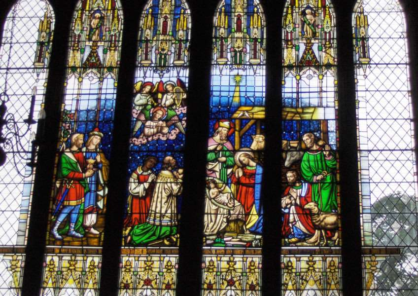 This window at the west end of St Wulfram's Church depicts the Nativity.