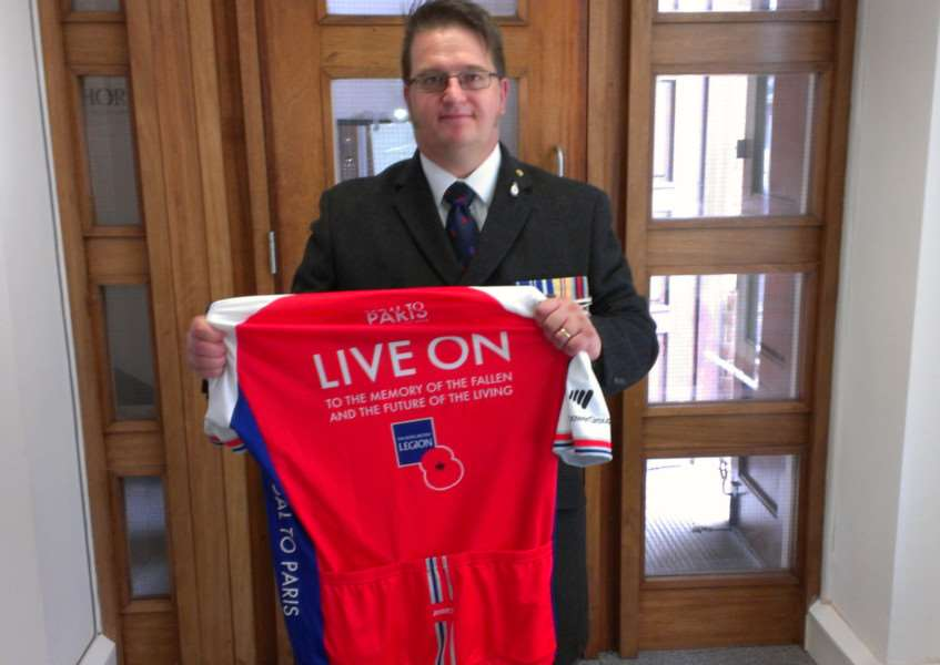 Andy Day will cycle from London to Paris in support of the Royal British Legion.
