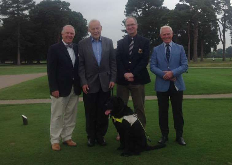 Belton Park's Nick Maltby, David Mahoney and Michael Sims, with EWGB fundraiser Richard Freeman.