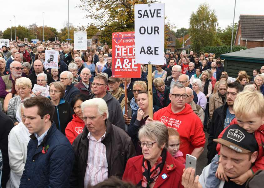 Protest march through Grantham to highlight the closure of the A and E Department at Grantham Hospital EMN-161029-180906009