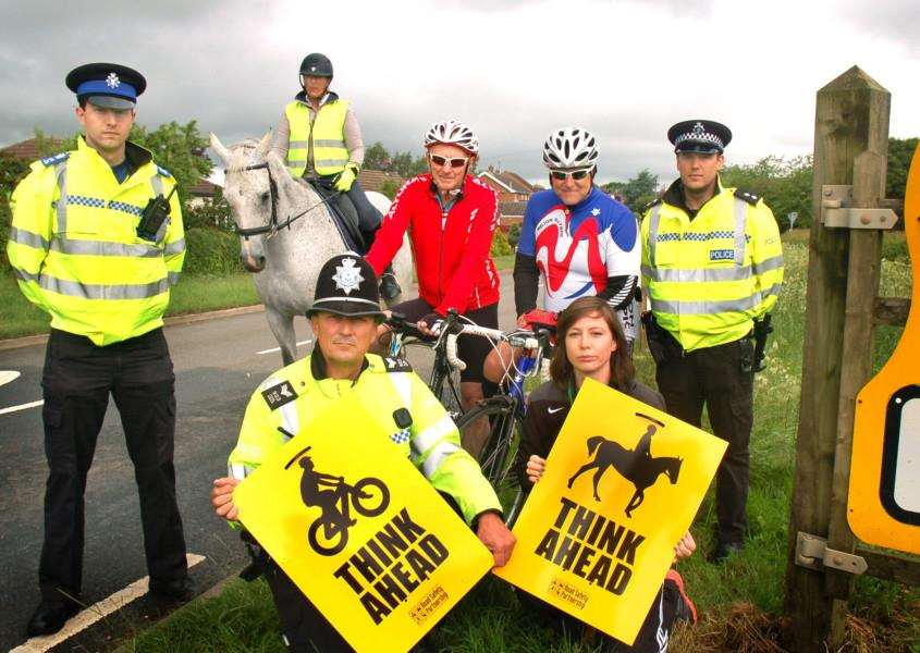 Police, local cyclists and a horse rider and a representative from the Melton Sport and Health Alliance, which is part of Melton Council, at the launch of the new road safety campaign being piloted in the Vale of Belvoir EMN-160615-092113001