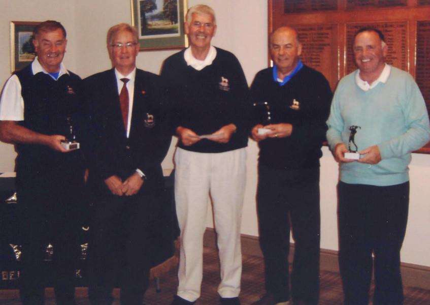 Pictured from left are Belton Park's John Cooke, club captain Tony Nickson, Dream Team captain Tony Davies, Nigel Beaumont and Bill Clarke.