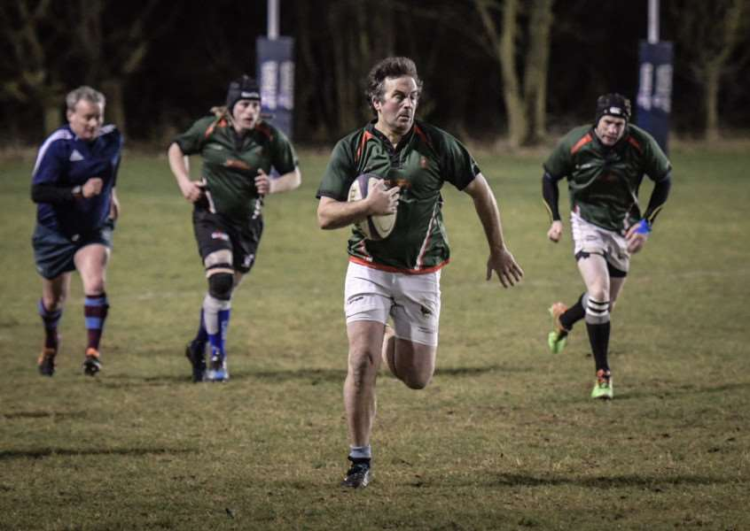 Ken Lines scored a fine brace of tries for Lincs Vets at Woodnook. Photo: Graeme Reynolds