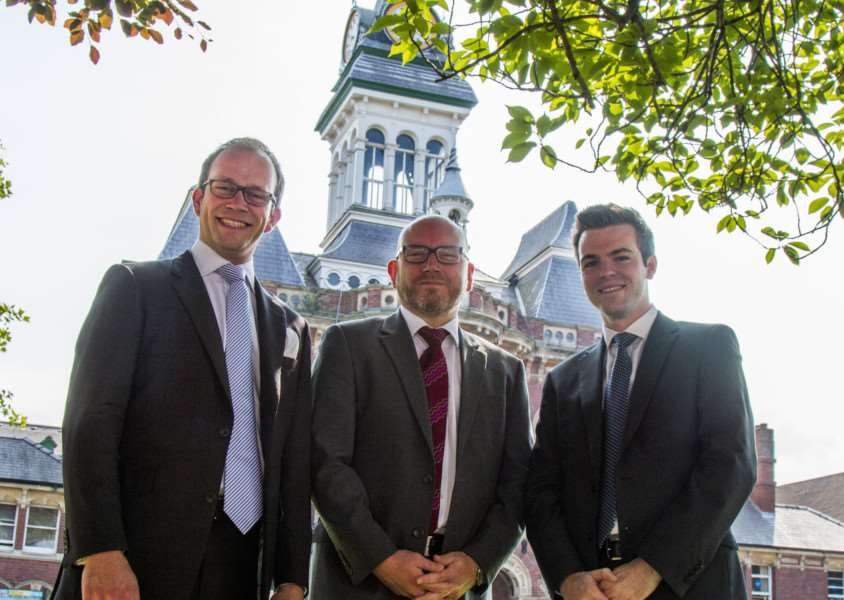 Coun Matthew Lee (left), Leader of South Kesteven District Council, new Chief Executive Aidan Rave and Deputy Leader Coun Kelham Cooke. Photo supplied by SKDC.
