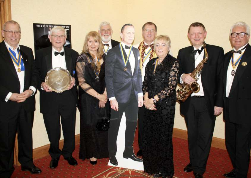 Tony Griffin was awarded the Presidents Plate in recognition of the hard work he does behind the scenes the Rotary Club of Grantham Kesteven.Picture from left are Ian Brodie, Tony Griffin, President Carol Courtney, Bob McKinley, James Bond, Peter Burr Linda Burr, Walter Drayton.