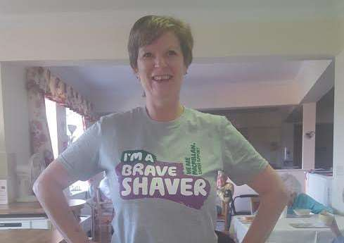 Linda Fendley, of Apple Trees, 'braves the shave' for Macmillan.