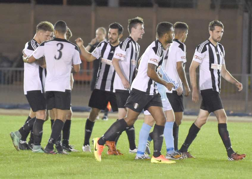 The Gingerbreads celebrated their opening goal at The Meres on Tuesday night. Photo: Toby Roberts