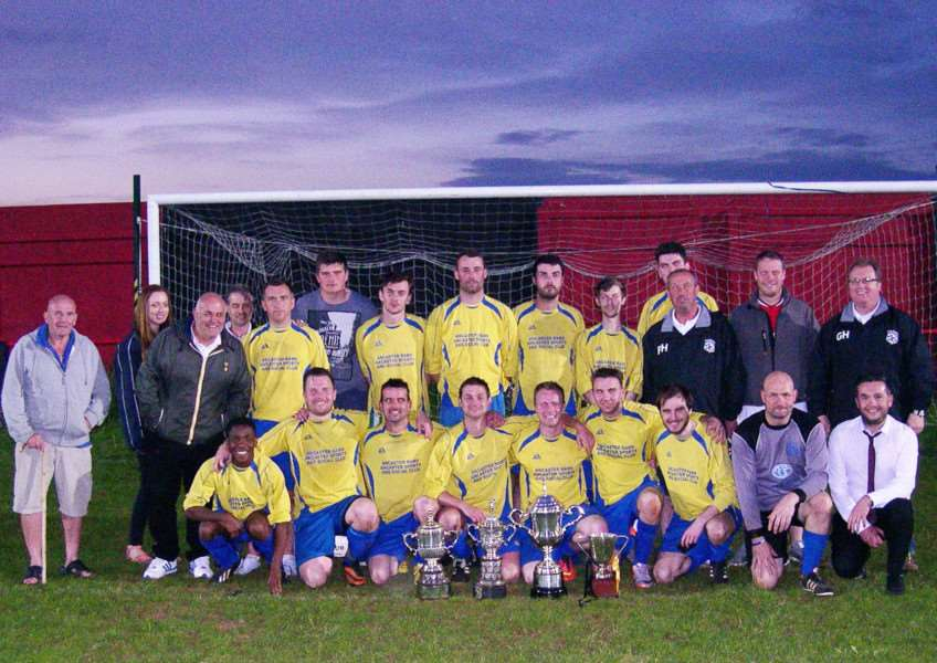 League champions Ancaster Rams display their silverware following last week's final victory over Blue Pig.