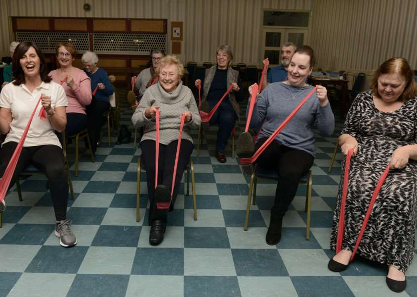 Tracy Ferguson (pictured front, far left) hopes the chair-based exercise sessions will appeal to more people.