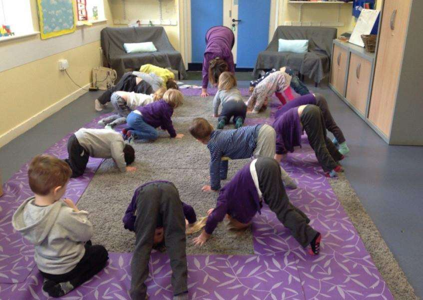 Strike a pose: Pre-schoolers at Wyndham Park Nursery School have been mastering different yoga positions.