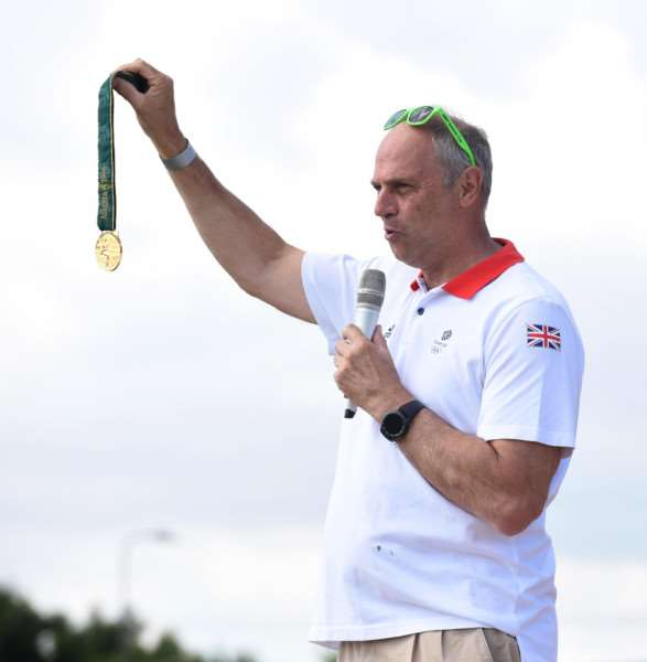 Five-time Olympic Gold medallist Sir Steve Redgrave speaks to the students at the Summer Cup in Grantham.