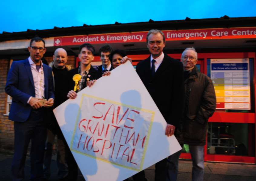 Liberal Democrat leader Tim Farron visits Grantham hospital a day after his party's triumphant victory in the Richmond Park by-election.