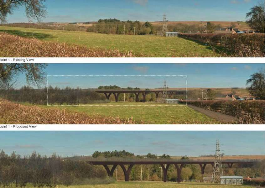 Artists' impressions of the bridge that will be built across the Witham Valley including crossing the River Witham and the East Coast Main Line railway line.