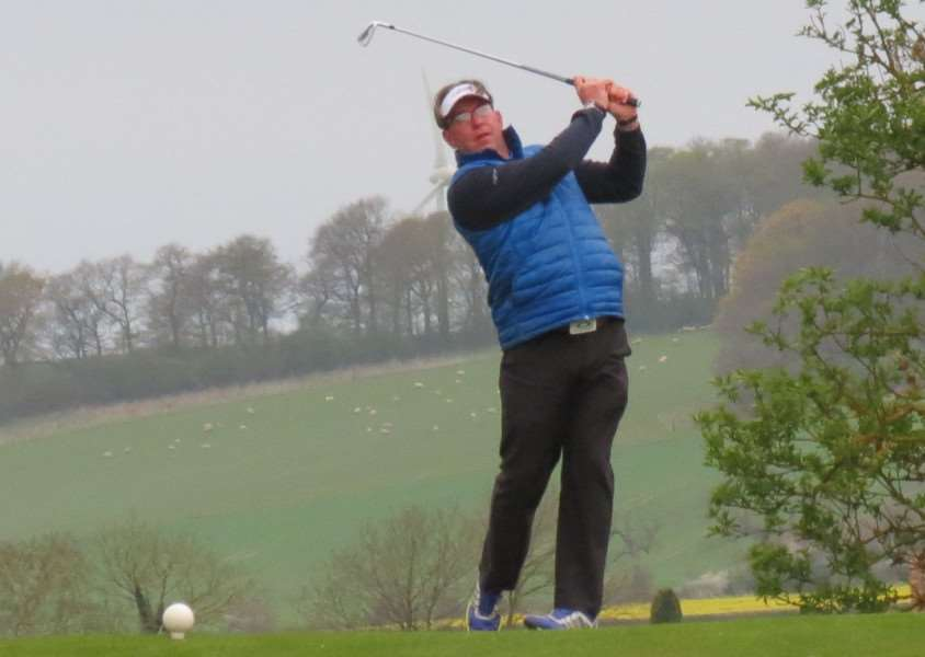 Team captain Bruce MacFarlane he tees off the 16th hole on the way to Sudbrook Moor success in the Elsham Trophy.
