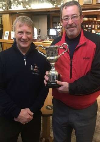 Belton Park captain Derek Bashford and Trustees Cup winner Nick Banner.