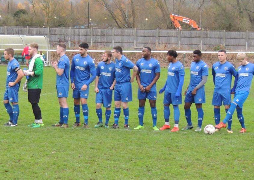 Harrowby United line up before kick-off against Buckingham Town.
